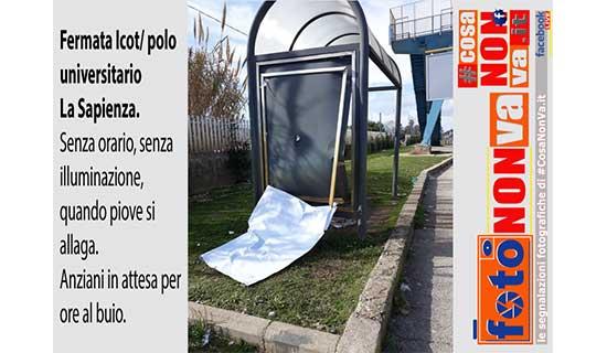 Fermata #ICOT #polouniversitario #LaSapienza #Latina FotoNonVa CosaNonVa PasqualeValiantePresentatore #CosaNonVa #PasqualeValiante #FotoNonVa #segnalazione #segnalazionefotografica www.pasqualevaliante.it